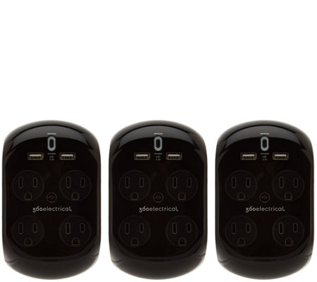 Revolve 3.4 Set of 3 Surge Protectors w/4 Outlets & 2 USB Ports