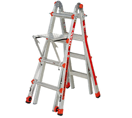 """As Is"" Little Giant 24-in-1 17' Ladder with Work Platform and Wheels"