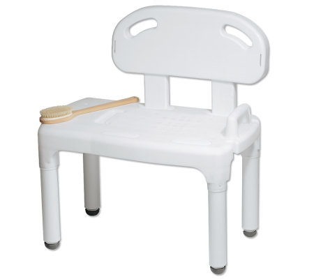 Carex Universal Transfer Bench w/ Back and Removable Soap Dis