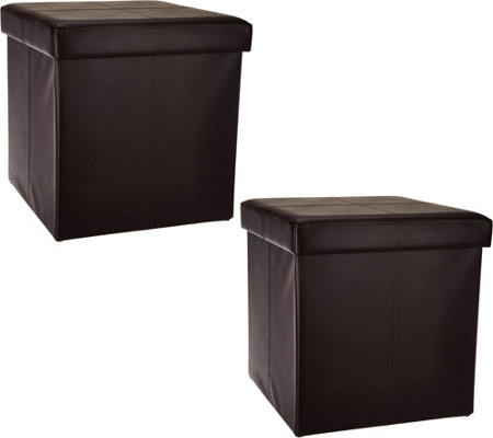 "Faux Leather Set of 2 16"" Foldable Storage Ottomans by FHE"