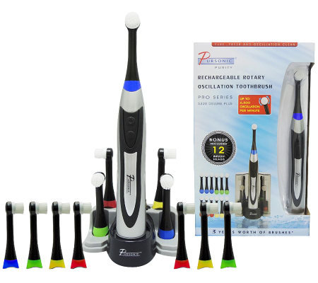 Pursonic Deluxe Plus Rechargeable Toothbrush w/12 Brush Heads