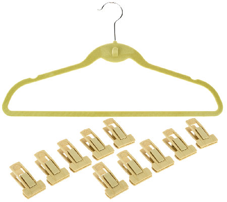 ClutterFree Set of 60 Cascading Hangers with 10 Pant Clips
