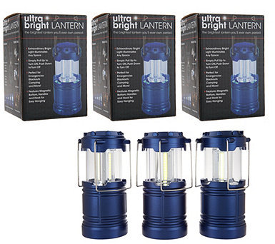 Set of 3 Pop-Up LED Lanterns w/ Magnetic Bases and Gift Boxes - V35194