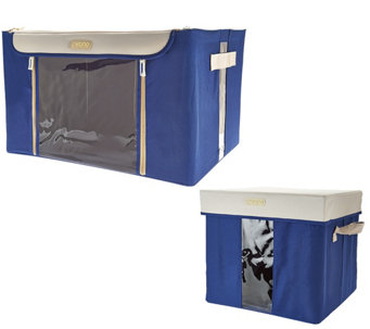 Kano Set of 2 Storage Boxes w/Steel Frame & Window Panel - V33198