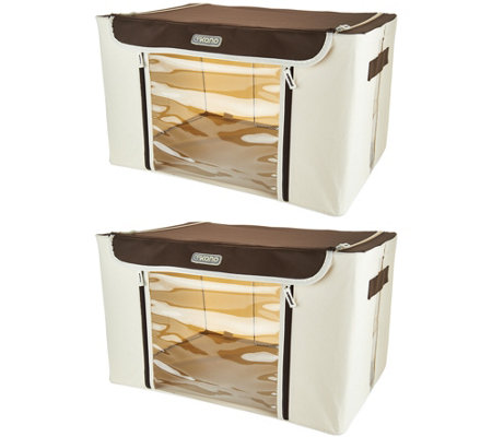 Kano Set of 2 Large Storage Boxes w/Steel Frame & Window Panel
