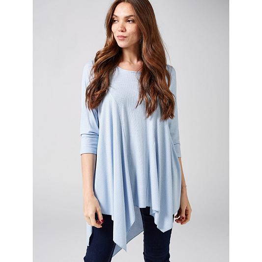 1105a0e7d907cd Yong Kim Jersey 3 4 Sleeve Printed Tunic with Asymmetric Hem ...