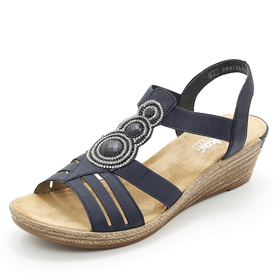 c0df30dcca0 Rieker Wedge Sandal with Embellished Disc Detail - QVC UK