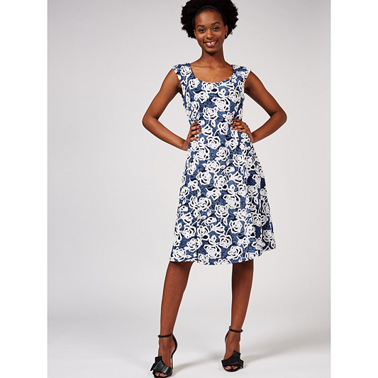 78518c53e452bc Ronni Nicole Sleeveless Printed Fit   Flare Dress. Back to video