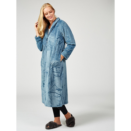 a6d3aeddcc Carole Hochman Waved Detail Silky Plush Long Zip Robe. Back to video
