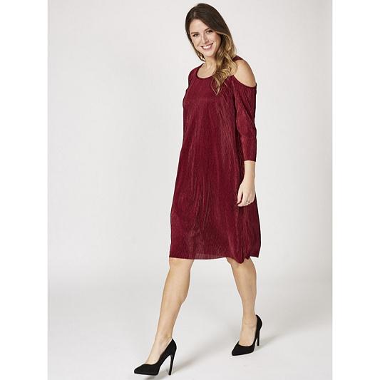 4110b01e940 3 4 Sleeve Cold Shoulder Pleat Dress by Nina Leonard - QVC UK