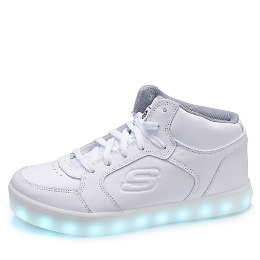 7f45a497d4a2 Skechers Kid s Energy Lights Mid Top Lace Up Trainer with Hidden Lights.  Back to video
