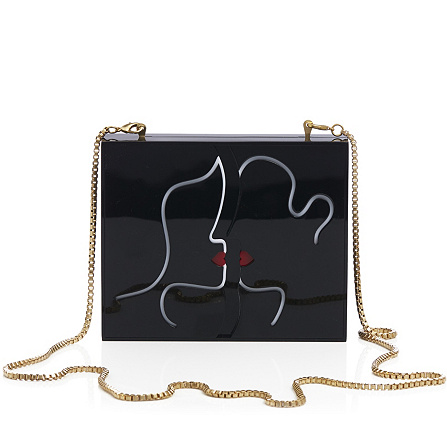 4d9eb627c2 Lulu Guinness Perspex Kissing Lips Chloe Clutch with Chain Strap. Back to  video