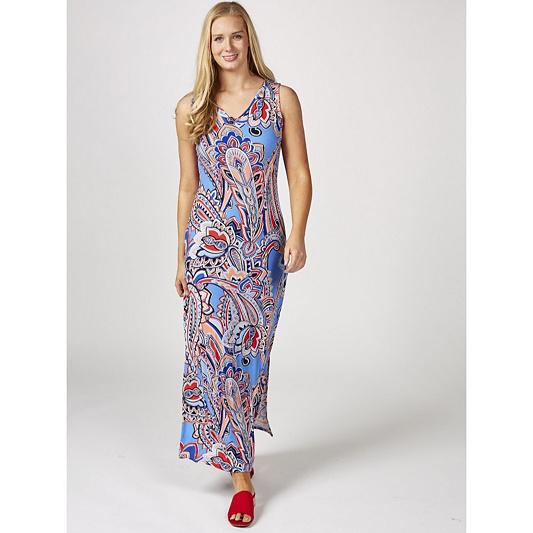 Printed Liquid Knit V Neck Maxi Dress By Susan Graver Qvc Uk