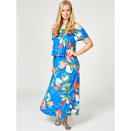 c2d51f51e Printed Liquid Knit Maxi Dress by Susan Graver. Back to video