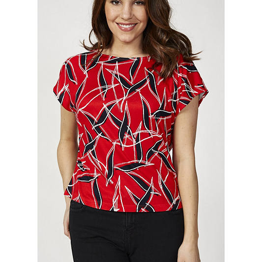 42d469ef72dca3 Betty   Co Abstract Leaf Print Short Sleeve Top - QVC UK