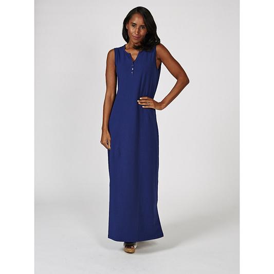 e2bdb33b6d8 Denim   Co. Perfect Jersey Split V Neck Button Henley Maxi Dress ...