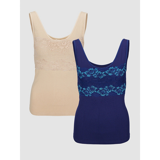 78931ec4d4100 Rhonda Shear Seamless Camisole with Shelf Bra Lace Detail Pack of 2. Back  to video