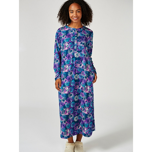Carole Hochman Sueded Jersey Printed Long Nightdress. Back to video 602a8a144
