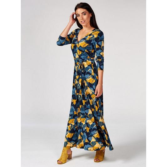 bb26ff9268b Du Jour Printed Faux Wrap Maxi Dress Petite - QVC UK