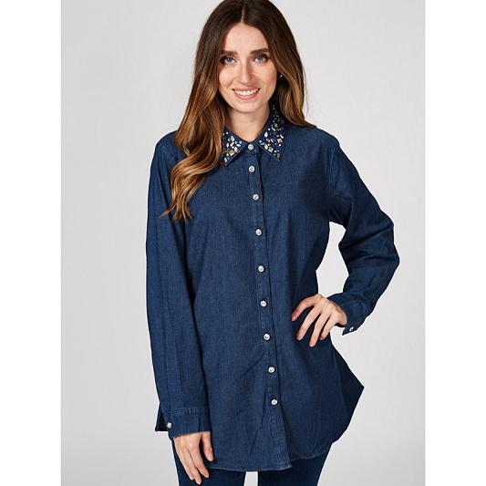 019cb969813 Quacker Factory Button Front Denim Shirt with Rhinestone Collar ...