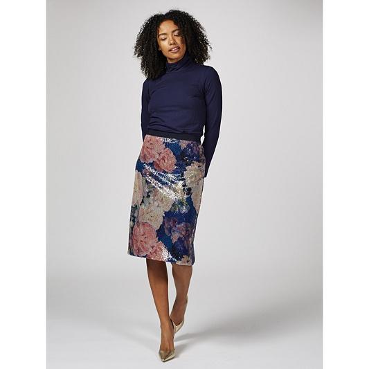 e5d728ea8d6 Isaac Mizrahi Live Printed Floral Sequin Pencil Skirt. Back to video