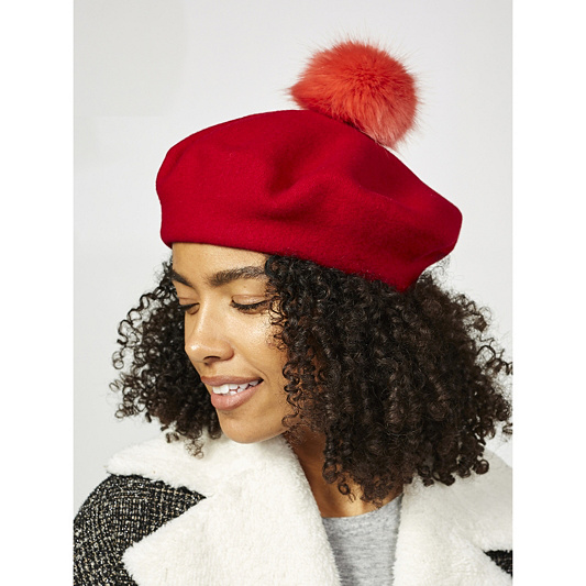 665ad4e18824f Helen Moore Faux Fur Pom Pom Beret. Back to video