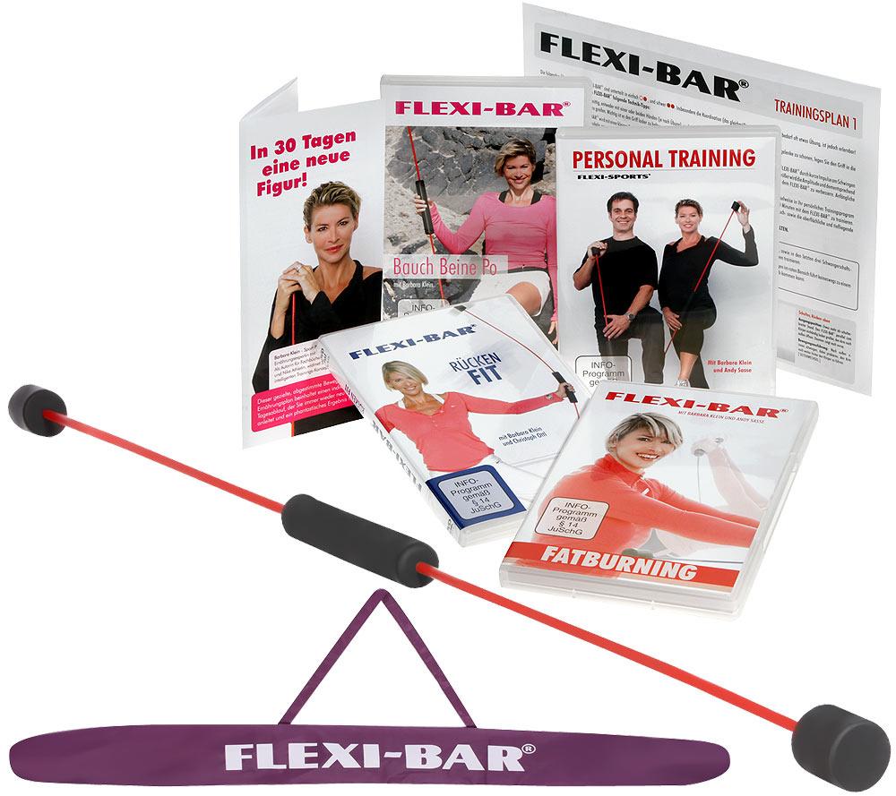 Qvc Sportgeräte flexi-sports flexi-bar sportgerät 4 dvd's, tasche & ernährungsplan