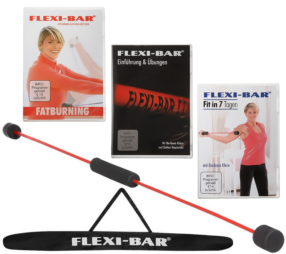 Qvc Sportgeräte flexi-sports flexi-bar 3 trainings-dvds trainingsplan & tasche