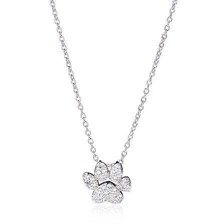 Diamonique 02ct tw dog paw pendant chain sterling silver qvc uk mozeypictures Images