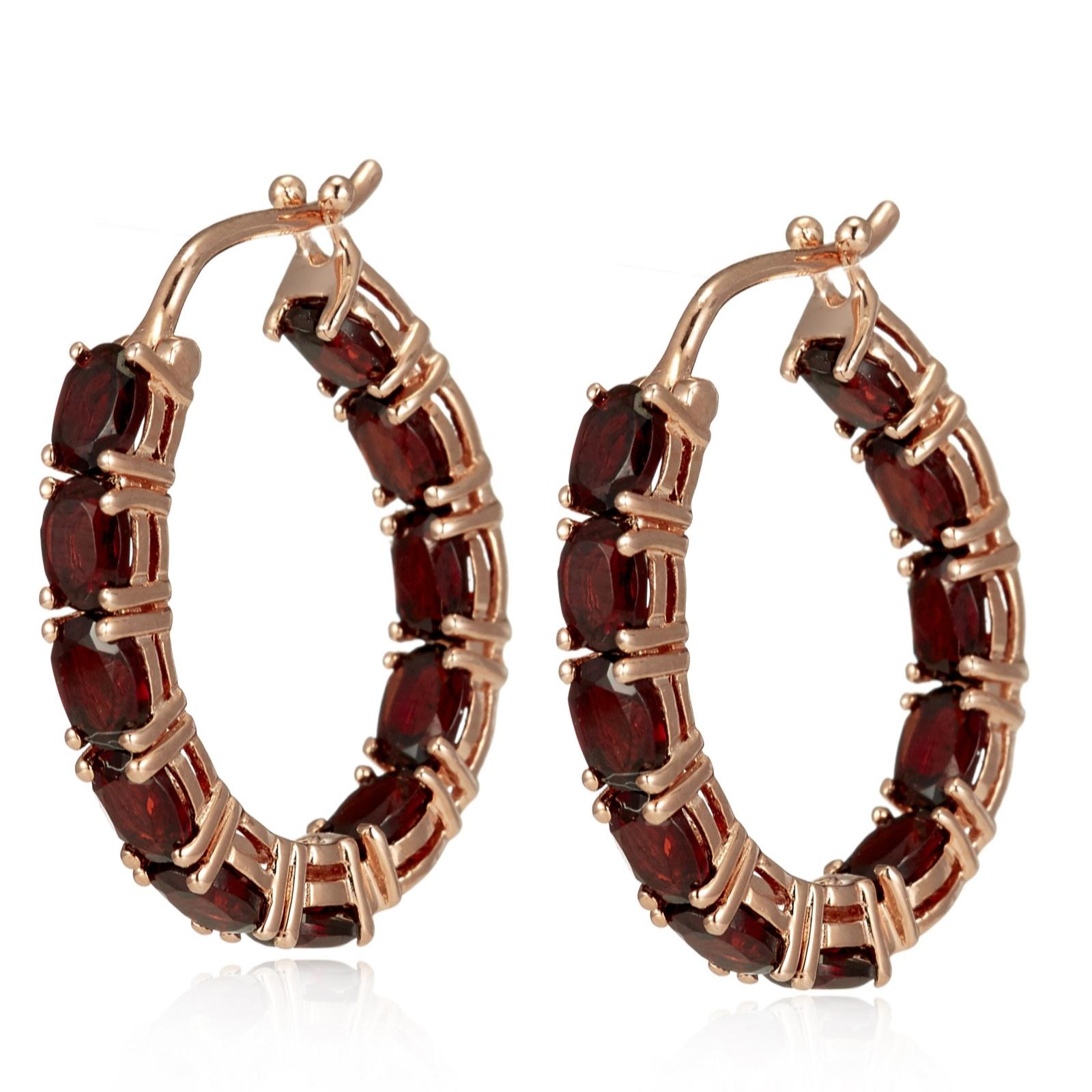 3 6ct Garnet Hoop Earrings Sterling Silver Rose Gold Vermeil QVC UK