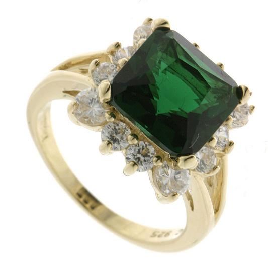 Claudette colbert inspired simulated emerald fancy ring sterli qvc uk aloadofball Gallery