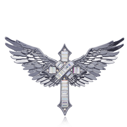 Butler Wilson Crystal Cross Wings Brooch