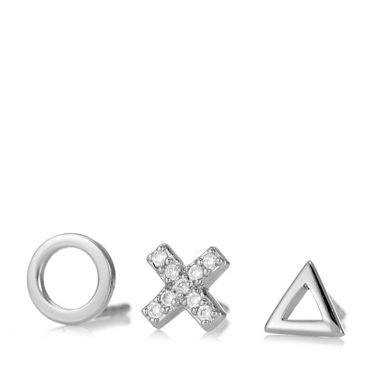 2bea76301 Scream Pretty Geometric Set of 3 Single Stud Earrings Sterling Silver ...