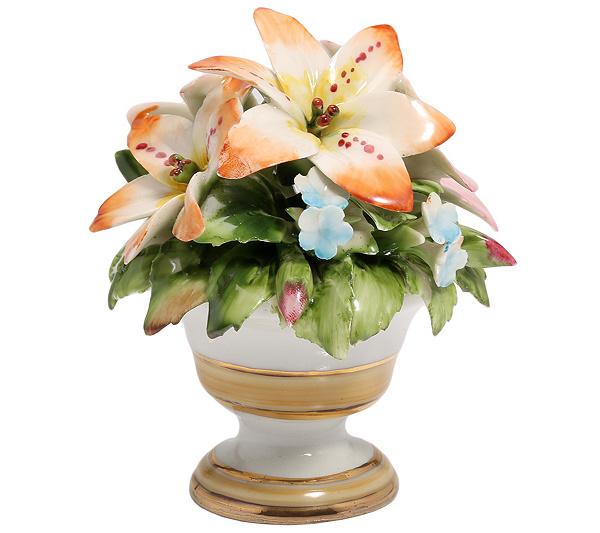 CAPODIMONTE Blumen-Bouquet in weißer Vase limitierte Auflage ...
