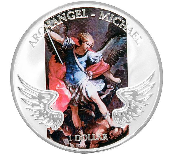 Erzengel Michael Münze Mit Farbapplikation Sterling Versilbert
