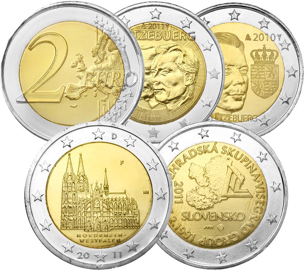 Gedenkmünzen 5x 2 Euro Münzen Verschausgabe Länder Prägefrisch