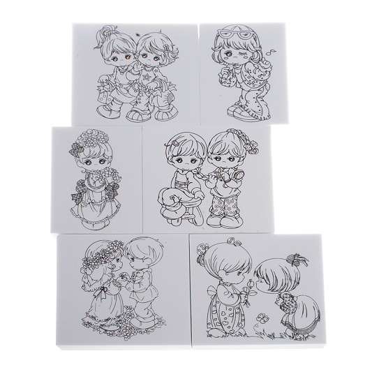 Set Of 6 Foamed Backed Child Motif Stamps