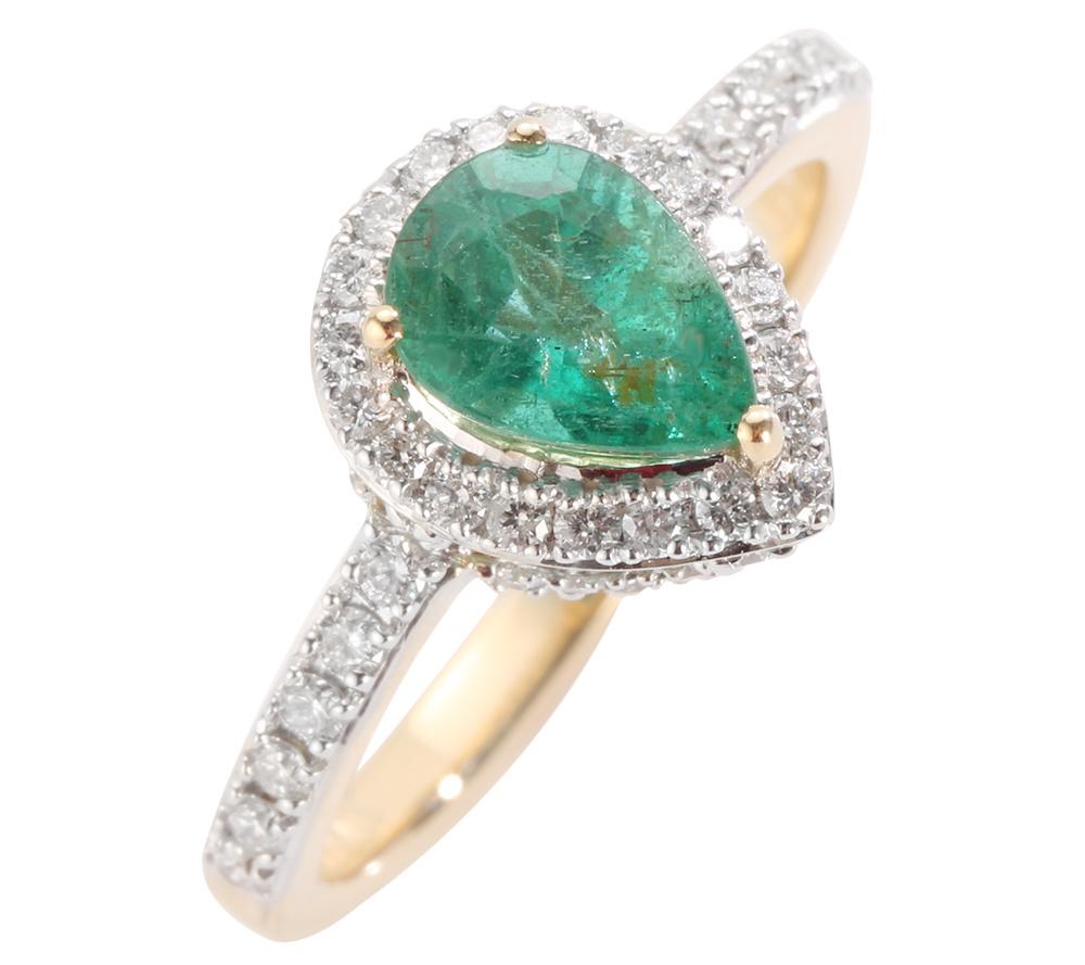 Beliebt Bevorzugt Sambia Smaragd Tropfen 1,30ct 56 Brill. 0,51ct Ring Gold 750 — QVC.de @IU_83