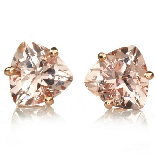 2 5ct Mozambique Morganite Trillion Cut Stud Earrings 9ct Rose Gold Qvc Uk