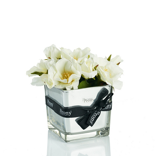 Peony Roses In A Mirror Cube Qvc Uk