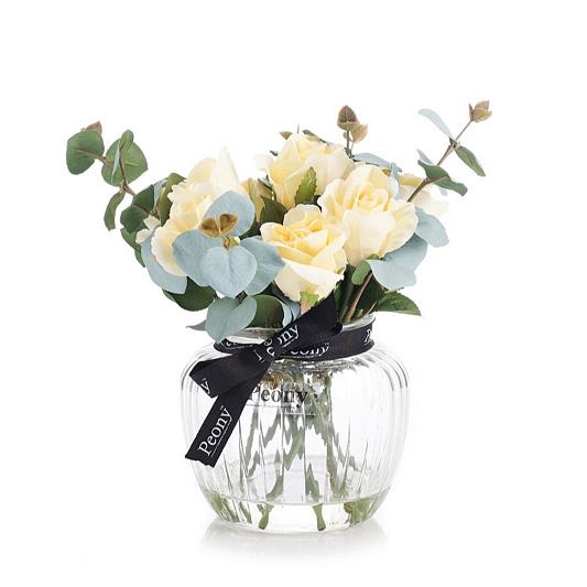 a2455a5fa565 Peony Rose   Eucalyptus in a Medium Optic Vase - QVC UK