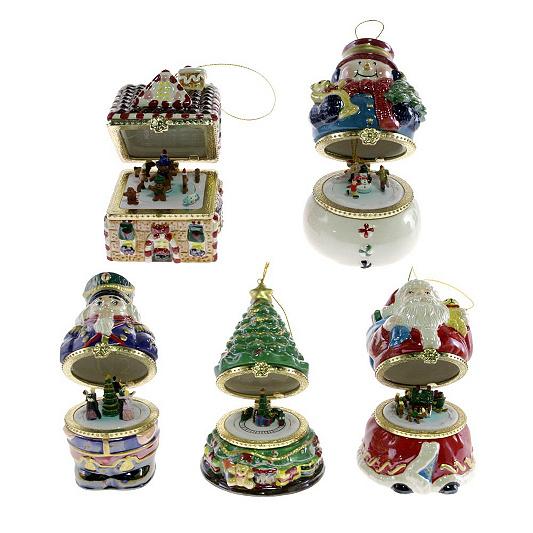 Mr Christmas Set of 5 Musical Box Ornaments Series 1