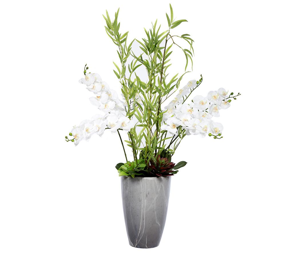 Abella Flora Wir Lieben Blumen Orchidee Bambus Topf Marmor Optik