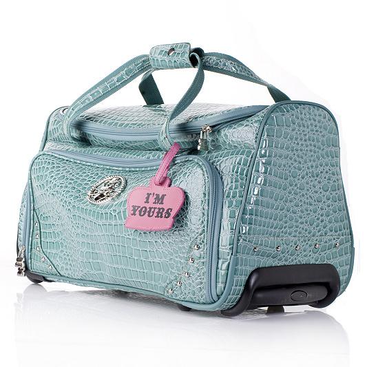 Kathy Van Zeeland Faux Croc Embossed Rolling Duffle Bag