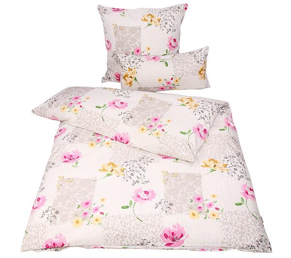 Apricasa Mf Glatt Gewebt Bettwäsche Blütenkaro Einzelbett 3tlg