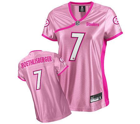 NFL Steelers Roethlisberger Women s Be Luv d Pink Jersey — QVC.com e417649dd