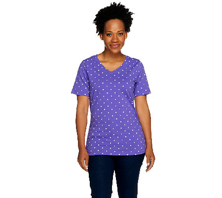 Denim & Co. Perfect Jersey Polka Dot Top with Side Shirring