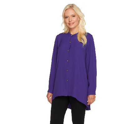 Susan Graver Woven Button Front Shirt with Hi-Low Hem