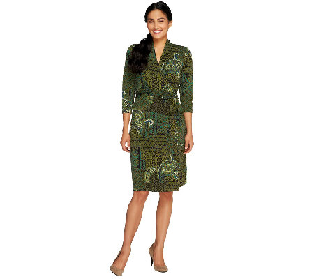 Liz Claiborne New York Petite Printed Knit Wrap Dress