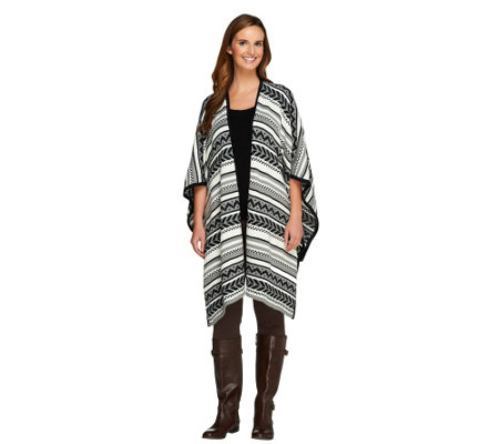Lisa Rinna Collection Jacquard Sweater Shawl